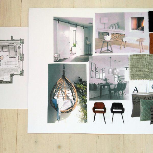 Moodboard + interieurontwerp woonkamer